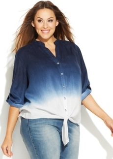 INC International Concepts Plus Size Linen Dip-Dyed Tie-Front Shirt