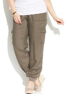 INC International Concepts Plus Size Linen Drawstring Cargo Pants