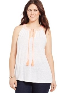 INC International Concepts Plus Size Linen Embroidered Halter Top