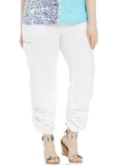 INC International Concepts Plus Size Linen Ruched Cargo Pants