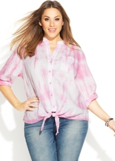INC International Concepts Plus Size Linen Tie-Dyed Tie-Front Shirt