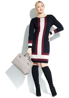 INC International Concepts Plus Size Long-Sleeve Colorblock Sweater Dress