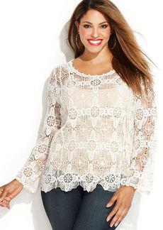 INC International Concepts Plus Size Long-Sleeve Crochet Sweater