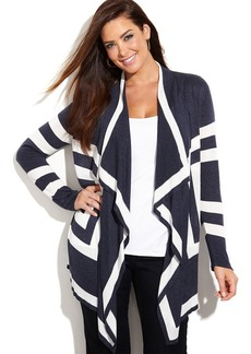 INC International Concepts Plus Size Long-Sleeve Draped Colorblock Cardigan