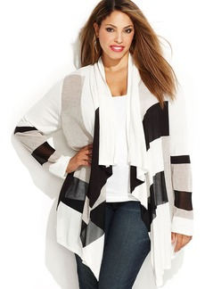 INC International Concepts Plus Size Long-Sleeve Draped Striped Cardigan