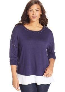 Inc International Concepts Plus Size Long-Sleeve Knit Layered Top