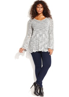 INC International Concepts Plus Size Long-Sleeve Pointelle Sweater