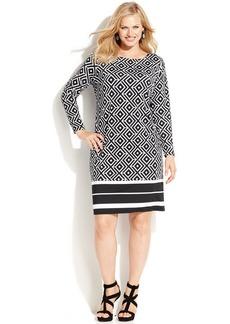 INC International Concepts Plus Size Long-Sleeve Printed Shift Dress