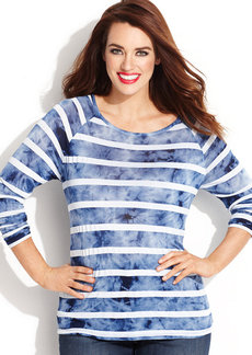 INC International Concepts Plus Size Long-Sleeve Striped Tee