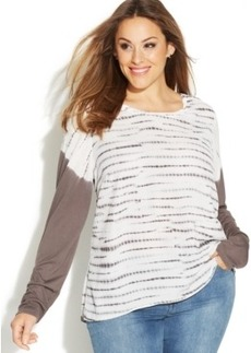INC International Concepts Plus Size Long-Sleeve Tie-Dyed Tee