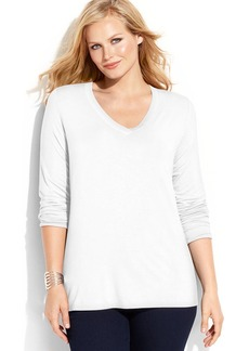 INC International Concepts Plus Size Long-Sleeve V-Neck Top