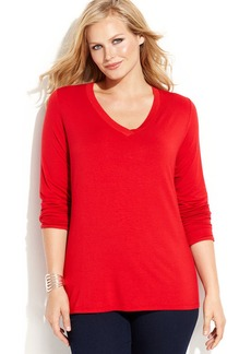 INC International Concepts Plus Size Long-Sleeve V-Neck Top
