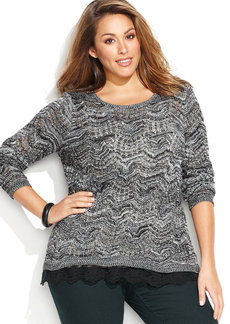 INC International Concepts Plus Size Marled Lace Trim Sweater