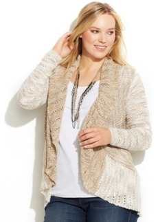 INC International Concepts Plus Size Marled Open-Front Cardigan