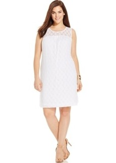 INC International Concepts Plus Size Mesh-Dot Dress