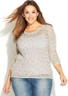 INC International Concepts Plus Size Metallic Open-Knit Sweater
