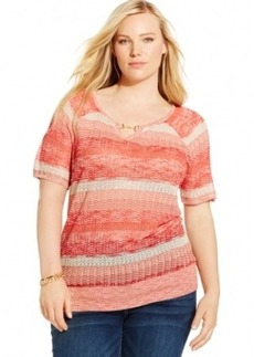 Inc International Concepts Plus Size Mixed-Stitch Keyhole Sweater
