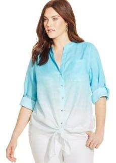 Inc International Concepts Plus Size Ombre Tie-Front Linen Shirt