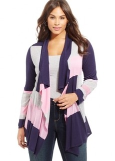 Inc International Concepts Plus Size Open-Front Colorblocked Cardigan