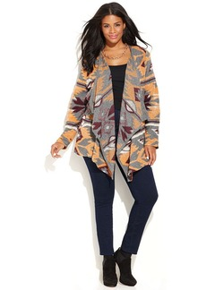 INC International Concepts Plus Size Open-Front Draped Printed Cardigan