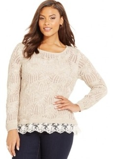 Inc International Concepts Plus Size Open-Knit Lace-Hem Sweater, Only at Macy's