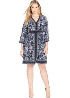 Inc International Concepts Plus Size Paisley-Print A-Line Dress