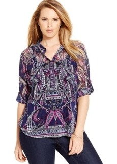 Inc International Concepts Plus Size Paisley-Print Blouse, Only at Macy's