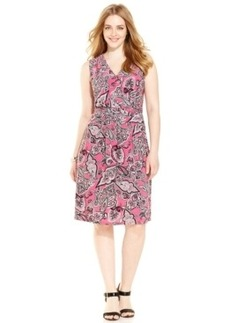 INC International Concepts Plus Size Paisley-Print Faux-Wrap Dress