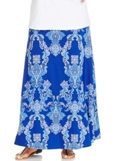 INC International Concepts Plus Size Paisley-Print Maxi Skirt