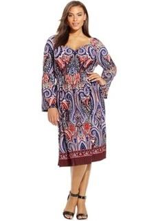 Inc International Concepts Plus Size Paisley-Print Peasant Dress