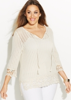INC International Concepts Plus Size Peasant Sweater