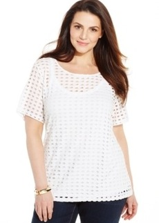 Inc International Concepts Plus Size Perforated Tee