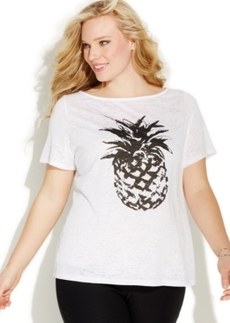 INC International Concepts Plus Size Pineapple-Print Burnout Tee