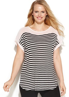 INC International Concepts Plus Size Plus Size Short-Sleeve Striped Top