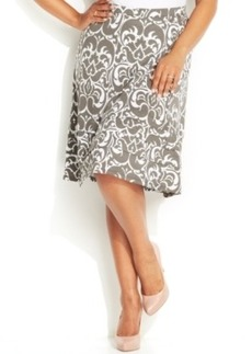 INC International Concepts Plus Size Printed A-Line Skirt