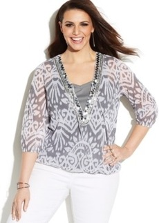 INC International Concepts Plus Size Printed Beaded Peasant Top