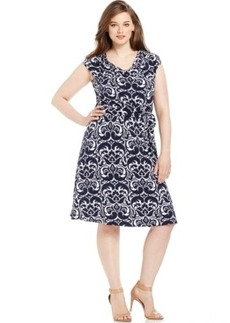 INC International Concepts Plus Size Printed Belted A-Line Dress