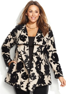 INC International Concepts Plus Size Printed Belted Faux-Leather-Trim Sweater