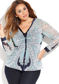INC International Concepts Plus Size Printed Button-Front Shirt