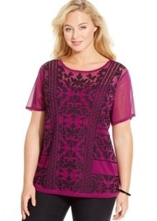 Inc International Concepts Plus Size Printed-Chiffon Top, Only at Macy's