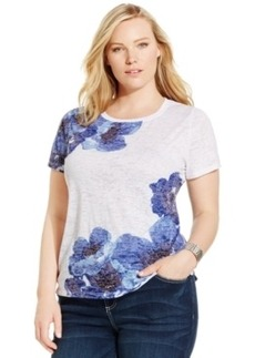 Inc International Concepts Plus Size Printed Embellished Tee
