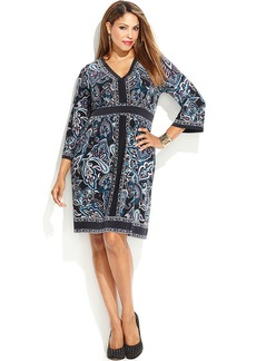 INC International Concepts Plus Size Printed Empire-Waist Dress