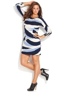 INC International Concepts Plus Size Printed Faux Leather Zebra Dress