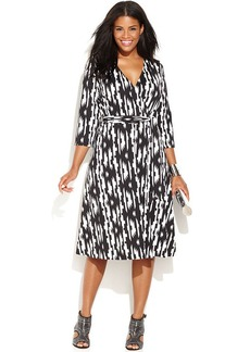 INC International Concepts Plus Size Printed Faux-Wrap Dress