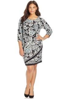 Inc International Concepts Plus Size Printed Faux-Wrap Dress