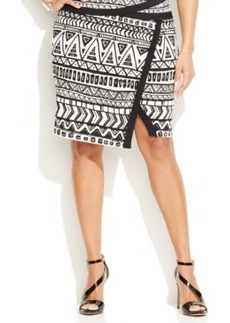INC International Concepts Plus Size Printed Faux-Wrap Skirt