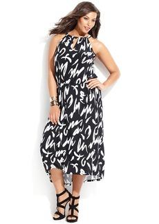INC International Concepts Plus Size Printed Halter High-Low Dress