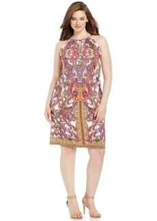 INC International Concepts Plus Size Printed Keyhole Halter Dress