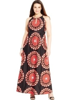 Inc International Concepts Plus Size Printed Keyhole Maxi Dress