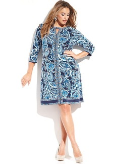 INC International Concepts Plus Size Printed Keyhole Sheath Dress
